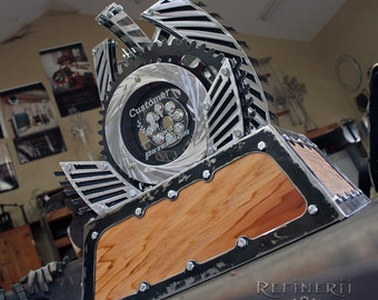 Large Custom Metal Trophy Perpetual Award with Polished Aluminum & wood accents