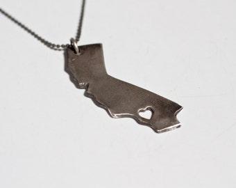 i heart California State Necklace - Oxidized Silver California Necklace State Love Necklace California Necklace With Heart Travel West Coast