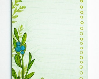 Botanical List Notepad - Blueberry To Do List Notebook - Botanical Stationery - Paper List Notepad - TO DO LIST Notepad