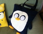 Gunter Penguin tote from the TV show Adventure Time Fleece Handbag, purse, sack, 12x13x3 inches great for kids and teens school supplies!