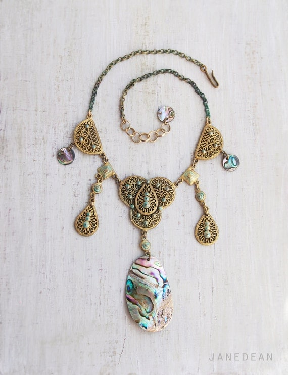 Abalone Statement Necklace - iridescent shell and vintage materials