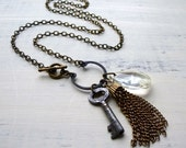 Charm Necklace with Antique Key, Crystal Prism, Chain Tassel. Vintage Assemblage Jewelry. Repurposed. Upcycycled
