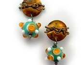 Tangerine moon Post earrings in solid sterling silver with  lampwork One of a kind by Cathleen McLain