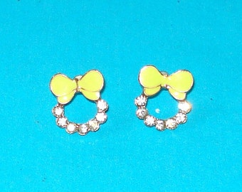 Girly Yellow Bow Post Earrings