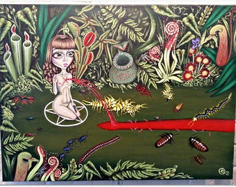 River Of Blood-Big Eye Pop Surrealism Original Acrylic Painting 24x18-By Alexandria Sandlin Cherrybones