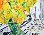 "There is Sunshine original mixed media floral Daffodil painting PRINT 5""x5"""