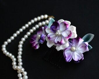Custom Purple Sakura Kanzashi on Comb. Hand Dyed Cherry Blossoms. Made to order.