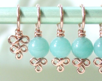 Amazonite and Copper Stitch Markers - Elegant Swirls