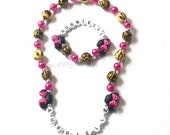 Leopard Print Hot Pink Minnie Mouse inspired Jewelry with cheetah or leopard chunky beads Hypoallergenic mini mouse ears