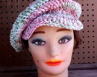 Crochet Hat Womens Hat, Summer Hat for Women, Crochet Beanie Hat, Cotton Hat, Newsboy Hat Women, Pink Hat, ANNIE Newsboy Hat