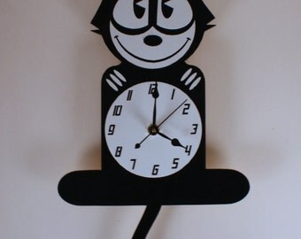 Laser Cut Hand Made & Hand Painted Wood Wall Cat Clock (large)