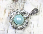 It's a Boy Blue Bird Nest Mother's Jewelry Push Present New Mom Baby Shower Gift for Mommy Mother Son Grandson Pregnancy Announcement