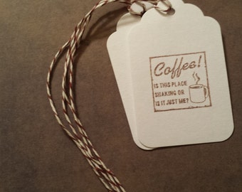 Tags Coffee Gift Packaging Party Favors - Hand stamped with Envelope Option
