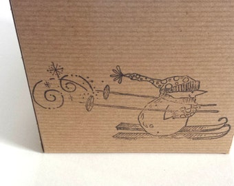 Gift Box Kraft Pinstripe Hand Stamped with Snowman on Skis with Snowflakes 5 Inch Square