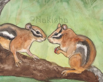 Original Art - The Lovers - Watercolor Chipmunk Painting -The Badgers Forest Tarot