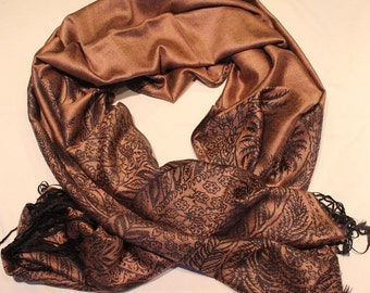 Golden Brown and Dark Brown Pashmina /Fashion Wear / Gift for Her/ Womens Accessories/ Wedding/Boho Chic/Small Gifts