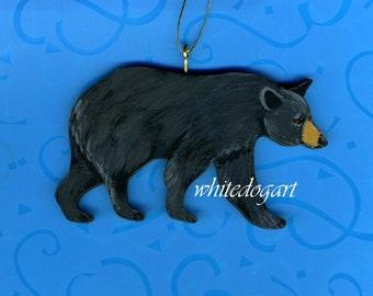 Handpainted Black Bear Christmas Ornament