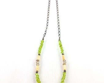 Peridot, Garnet, Pyrite, and Wood Necklace with Quartz Crystal Shard
