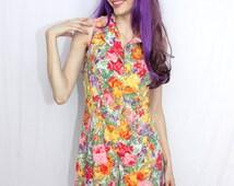 Floral Print Romper - Button Front Sleeveless Adult Onesie - Vintage 1990s Paris Blues, Junior's Size Medium - Cute Feminine Hipster Outfit