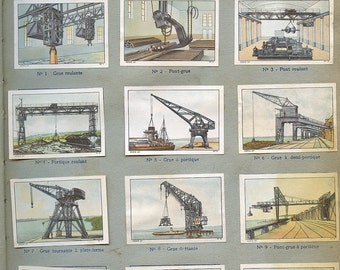 """French """"Cranes"""" Lifting Gear Stickers  Page from Children's Book 1930s Stamps Labels """"Engins de Levage""""   s31"""