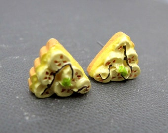 Delicious Banana Pie Stud Earrings // Banana and Cream // Dessert // Rhodium Posts // Gift under 15