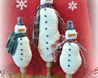 Primitive Standing Snowman Bobbin  decoration