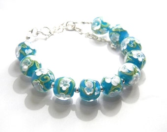 Bracelet - Lampwork Glass and Sterling Silver - MADE TO ORDER