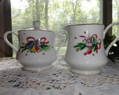 Salem's Christmas Eve Holiday Sugar and Creamer Set 1950s Fine China