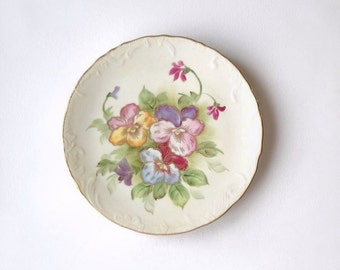 Vintage Lefton Plate, Hand Painted Flowers, Shabby Cottage Wall Hanging