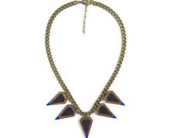 Spear Necklace/ Wood Statement Necklace/ Painted Geometric Shapes/ Antique Brass Large Curb Chain