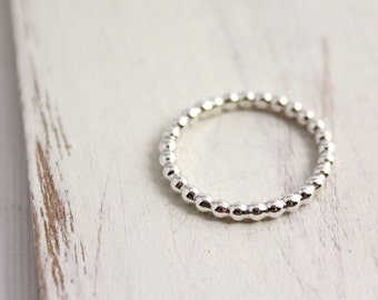Beaded Silver Band Stacking Ring