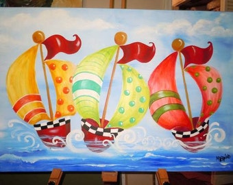 Whimsical Sailboats- Nautical nursery theme- 24 x 36 inches, fun and happy Very Large original painting baby wall art