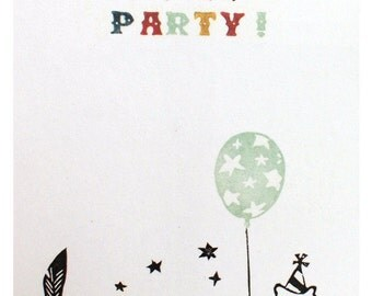 3 Invitation cards - Let's have a PARTY - 100% ECO