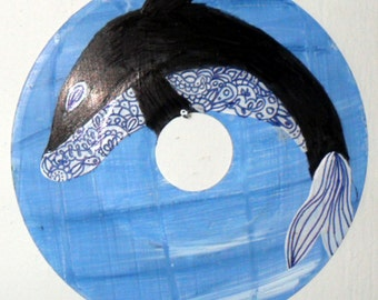 Vinyl record art - Henna Whale original painting - LP, 45 record, Recycled