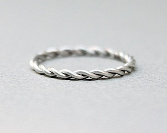 14K White Gold Rope Ring - Hand Twisted - Eco-Friendly Recycled Palladium White Gold