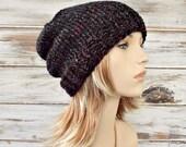 Knit Hat Womens Hat Mens Hat Slouchy Hat - Toque Beanie Hat - Blackstone Charcoal Grey Black Beanie - Grey Hat Womens Accessories Winter Hat
