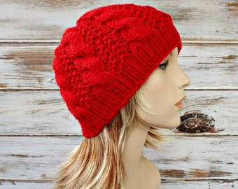 Red Cable Beanie Knit Hat Womens Hat Red Hat Red Beanie - Edison Cable Beanie Canna Lily Red Mens Hat - Womens Accessories - READY TO SHIP