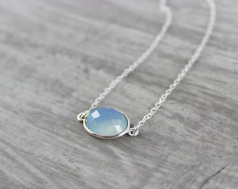 Sky Blue Necklace, Light Blue Necklace, Pale Blue Necklace, Chalcedony Gemstone Necklace, Sterling Silver Necklace, Oval Shaped Necklace