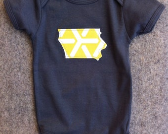 custom state toddler tee, grey yellow infant onesie or toddler tee iowa IA hawkeyes