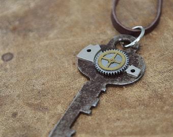 Clockwork Key Necklace - OOAK - Vintage Flat Key - Mens Necklace - Womens Necklace - Steampunk Jewelry