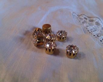 Vintage Rhinestones in Prong Settings.Crystal. 6 mm. Polished Brass. Ten.