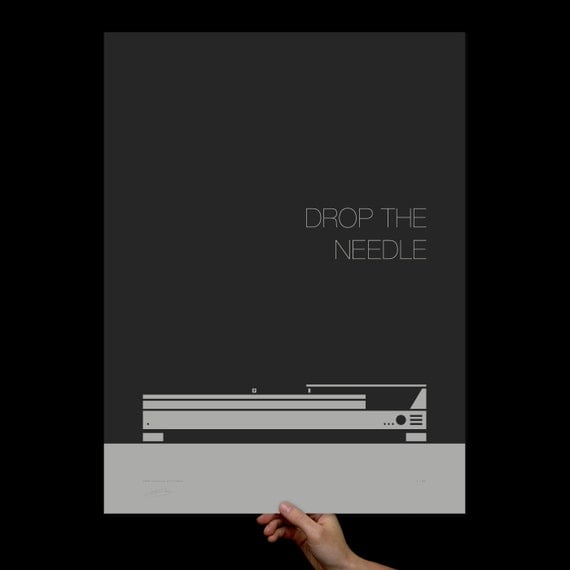 Drop the Needle, Art Print, Screenprint, Print, Typography, Office Art, Living Room Art, Music Poster, Music Room, Mid Century Modern Art