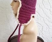 hand crochet russian trapper bomber aviator Hat  men women hat winter hat fur pilot  -  Fig Purple  - longer earflaps -  Made to ORDER