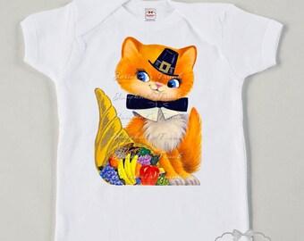 Thanksgiving Shirt - Girl Kitty Shirt - Thanksgiving Toddler Tee - Infant Thanksgiving Shirt - Kitty Pilgrim Retro Girl Vintage Tshirt