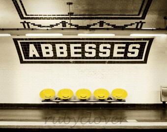 ABBESSES Metro Station, PARIS Underground, MONTMARTRE, Amelie, Black White & Yellow Photo, Art Nouveau, Urban Photography, Art Deco, France