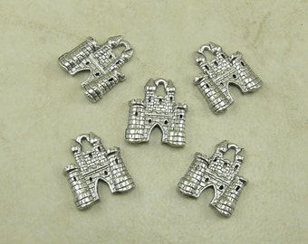 5 Castle Charms > Fairy Tale Medieval Renaissance Fortress Princess - Raw Lead Free Pewter American Made - I ship Internationally