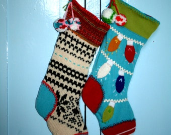 Jingle Sock Instant Download DIY Tutorial PDF Pattern Ebook Recycled Upcycled Christmas Sweater Stocking