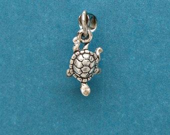 Sterling Silver Turtle Tortoise Mini Charm for Bracelet or Anklet no. 1752