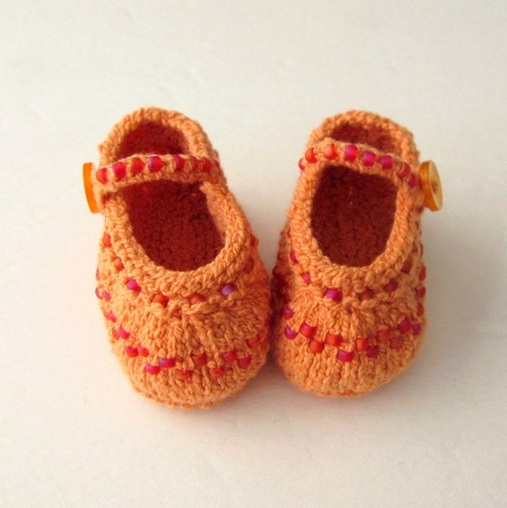 Hand Knit Baby Booties / Infant Girl Shoes - Beaded Mango Orange Mary Jane - Made to Order