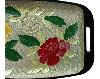 Hand-Painted Peony Tray w/ Handles - Vintage Tray - Red Green Yellow